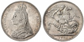 GREAT BRITAIN: Victoria, 1837-1901, AR crown, 1890, S-3921, KM-765, AU.