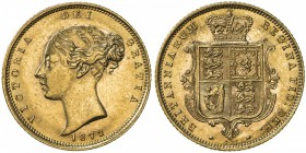 GREAT BRITAIN: Victoria, 1837-1901, AV ½ sovereign, 1872, S-3860D, die number 221 at lower reverse, UNC.