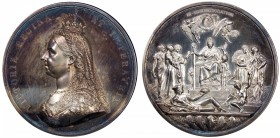 GREAT BRITAIN: Victoria, 1837-1901, AR medal, 1887, BHM-3219, Eimer-1733b, 78mm, Official Royal Mint Jubilee Medal by Boehm and Leighton: VICTORIA REG...