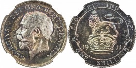 GREAT BRITAIN: George V, 1910-1936, AR shilling, 1911, KM-816, lovely multi-colored toning, NGC graded Proof 66.