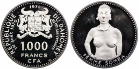 DAHOMEY: Republic, AR 1000 francs, 1970, KM-4.1, 55mm, 10th Anniversary of Independence - Somba Woman, mintage 6,500 with original case of issue, Proo...