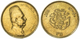 EGYPT: Fuad I, 1922-1936, AV 20 piastres (1.69g), 1929/AH1348, KM-340, AGW 0.0478 oz; rough surfaces, probably once in a bezel, VF.
