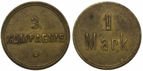 GERMAN SOUTH WEST AFRICA: Wilhelm II, 1888-1918, brass 1 mark, Schimmel-50.1002, canteen token for the 3. Kompagnie, the 3rd military staff stationed ...