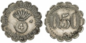 MOROCCO: 0.50 (franc) token (2.95g), ND [ca. 1915?], Lecompte-331, 23mm scalloped nickel token for Foyer du Légionnaire, Marrakesh, round bomb inscrib...
