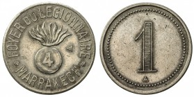 "MOROCCO: 1 (franc) token (3.01g), ND [ca. 1915?], Lecompte-332, 23mm round nickel token for Foyer du Légionnaire, Marrakesh, round bomb inscribed ""4"" ..."
