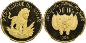 NIGER: AV 50 francs, 1968, KM-10, commemorates the tenth anniversary of the autonomy of the country, NGC graded PF65 UC.
