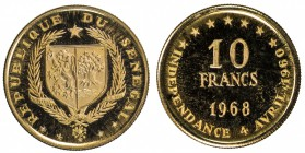 SÉNÉGAL: Republic, AV 10 francs, 1968, KM-1, 8th Anniversary of Independence, Proof.