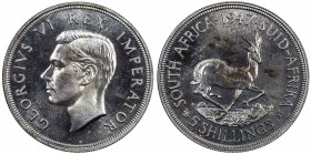 SOUTH AFRICA: George VI, 1936-1952, AR 5 shillings, 1947, KM-31, mintage 5,600 with original box of issue, Proof, S.