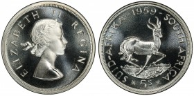 SOUTH AFRICA: Elizabeth II, 1952-1961, AR 5 shillings, 1959, KM-52, prooflike issue, PCGS graded PL67+. Only one graded higher by PCGS.
