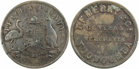 AUSTRALIA: AE penny token, ND [1863], KM-Tn167.2, Renniks-358, Andrews-366, T. F. Merry & Co., Toowoomba, Queensland, very rare variety with the L of ...