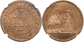 AUSTRALIA: AE penny token, ND, KM-Tn282.1, Andrews-571, Renniks-5, Advance Australia token by W. J. Taylor, London, kangaroo and emu facing, NGC grade...