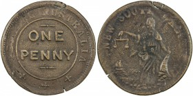 AUSTRALIA: AE penny token, ND [1850], KM-Tn284, Renniks-9, Andrews-632, Whitty & Brown, Sydney, New South Wales, variety with drapery hanging from elb...