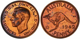 "AUSTRALIA: George VI, 1936-1952, AE penny, 1942-I, KM-36, Bombay Mint proof restrike, PCGS graded PF62 RB. Pridmore states that ""The earliest of this ..."