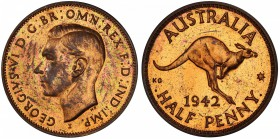 "AUSTRALIA: George VI, 1936-1952, AE halfpenny, 1942-I, KM-41, Bombay Mint proof restrike, PCGS graded PF60 RB. Pridmore states that ""The earliest of t..."