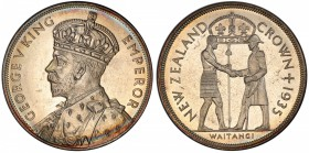 NEW ZEALAND: George V, 1910-1935, AR crown, 1935, KM-6, Treaty of Waitangi, beautiful light peripheral tone, mintage of 468 in proof (plus 660 in circ...