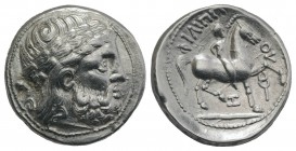 Celtic, Eastern Europe, imitating Philip II of Macedon, c. 3rd century BC. AR Tetradrachm (26mm, 12.80g, 3h). Laureate head of Zeus r. R/ Youth on hor...