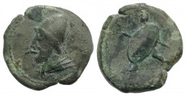 North-Eastern Italy, Ariminum, c. 268-225 BC. Æ Obol (20mm, 5.55g, 2h). Draped bust of Vulcan l., wearing wreathed pilos. R/ Warrior advancing l., hol...