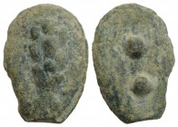Etruria or Umbria, Uncertain, 3rd century BC. Cast Æ Sextans (30mm, 20.71g). Club. R/ Two pellets. Vecchi, ICC 199; HNItaly 54. Green patina, VF