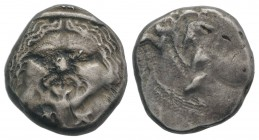 Etruria, Populonia, c. 3rd century BC. AR 20 Asses (20mm, 8.35g). Diademed facing head of Metus; X:X below. R/ Blank. EC Group XII, Series 52; HNItaly...