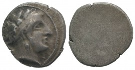 Etruria, Populonia, c. 300-250 BC. AR 10 Asses (18mm, 4.00g). Head of female r., hair in broad band, wearing triple-pendant earring; [X to l.]. R/ Bla...