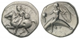 Southern Apulia, Tarentum, c. 400-390 BC. AR Nomos (21mm, 7.67g, 6h). Warrior, wearing helmet, holding shield and lance, dismounting from horse canter...
