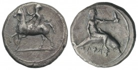 Southern Apulia, Tarentum, c. 400-390 BC. AR Nomos (22mm, 7.67g, 12h). Nude youth on horseback l., crowning horse. R/ Phalanthos, holding distaff, on ...