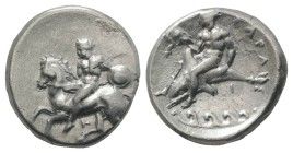Southern Apulia, Tarentum, c. 344-334 BC. AR Nomos (21.5mm, 7.63g, 3h). Naked horseman dismounting l., holding small round shield and lance; T below. ...