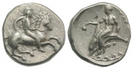 Southern Apulia, Tarentum, c. 344-340 BC. AR Nomos (21mm, 7.77g, 3h). Warrior, wearing helmet and holding shield, on horseback r.; |- below. R/ Phalan...