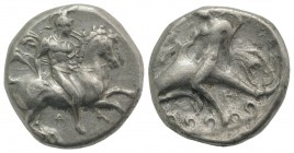 Southern Apulia, Tarentum, c. 335-333 BC. AR Nomos (20mm, 7.79g, 3h). Warrior, wearing helmet and holding shield, on horseback r.; Δ below. R/ Phalant...