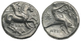 Southern Apulia, Tarentum, c. 333-331/0 BC. AR Nomos (20mm, 7.75g, 9h). Warror, preparing to throw spear and holding shield and two more spears, on ho...