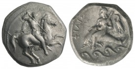 Southern Apulia, Tarentum, c. 290-281 BC. AR Nomos (20mm, 7.79g, 9h). Warrior, holding shield and two spears, preparing to cast a third, on horseback ...