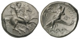 Southern Apulia, Tarentum, c. 290-281 BC. AR Nomos (21mm, 7.79g, 7h). Warrior, holding shield and two spears, preparing to cast a third, on horseback ...