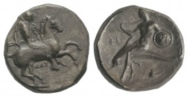 Southern Apulia, Tarentum, c. 302-290 BC. AR Nomos (20.5mm, 8.00g, 7h). Warrior, holding shield and two spears, preparing to cast a third, on horsebac...