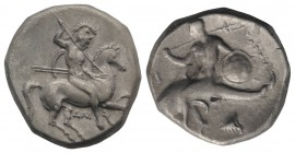 Southern Apulia, Tarentum, c. 302-290 BC. AR Nomos (20mm, 7.79g, 9h). Warrior, holding shield and two spears, preparing to cast a third, on horseback ...