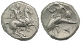 Southern Apulia, Tarentum, c. 302-290 BC. AR Nomos (20mm, 7.90g, 9h). Warrior, holding shield and two spears, preparing to cast a third, on horseback ...