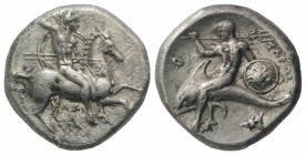 Southern Apulia, Tarentum, c. 302-290 BC. AR Nomos (20mm, 5.80g, 12h). Warrior, holding shield and two spears, preparing to cast a third, on horseback...