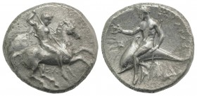 Southern Apulia, Tarentum, c. 315-302 BC. AR Nomos (21mm, 7.44g, 5h). Horseman riding r., holding two spears and shield, preparing to cast third spear...