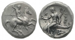 Southern Apulia, Tarentum, c. 315-302 BC. AR Nomos (19mm, 7.76g, 1h). Warrior, holding shield and two spears, preparing to cast a third, on horseback ...