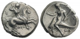 Southern Apulia, Tarentum, c. 330-302 BC. AR Nomos (22mm, 7.64g, 9h). Warrior on horseback r., holding shield, two lances, and spear; Ξ to l., API bel...