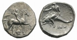 Southern Apulia, Tarentum, c. 302 BC. AR Nomos (22mm, 7.86g, 10h). Nude youth, crowning himself, on horseback r.; below, ΣA above Ionic capital. R/ Ph...