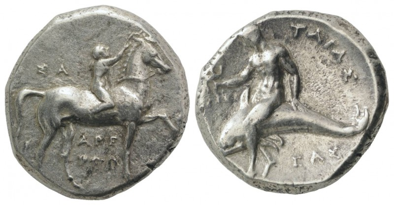 Southern Apulia, Tarentum, c. 302-280 BC. AR Nomos (21mm, 7.77g, 3h). Youth on h...
