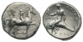 Southern Apulia, Tarentum, c. 302-280 BC. AR Nomos (21mm, 7.57g, 3h). Youth on horseback r., crowning horse; ΣA to l., APE/ΘΩN in two lines below. R/ ...