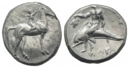 Southern Apulia, Tarentum, c. 302-280 BC. AR Nomos (21mm, 7.84g, 3h). Youth on horseback r., crowning horse with wreath; ΣA to l., ΦIΛI/APXOΣ in two l...