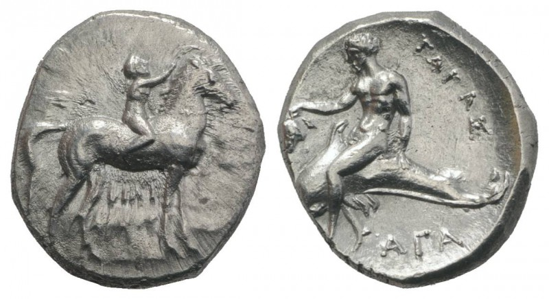 Southern Apulia, Tarentum, c. 302-280 BC. AR Nomos (22mm, 7.80g, 6h). Youth on h...