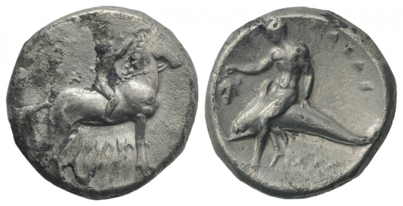 Southern Apulia, Tarentum, c. 302-280 BC. AR Nomos (21mm, 7.71g, 9h). Youth on h...