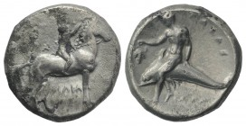 Southern Apulia, Tarentum, c. 302-280 BC. AR Nomos (21mm, 7.71g, 9h). Youth on horseback r., crowning horse with wreath; ΣA to l., ΦIΛI/APXOΣ in two l...