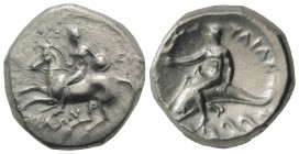 Southern Apulia, Tarentum, c. 302-280 BC. AR Nomos (21mm, 7.74g, 3h). Nude youth on horseback l., holding shield; EY behind, ΦIΛΩN below. R/ Phalantho...