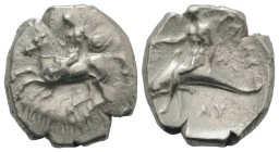 Southern Apulia, Tarentum, c. 302-280 BC. AR Nomos (22mm, 7.75g, 6h). Nude youth, holding shield and rein, on horseback l., [ΦIΛOKΛHΣ below]. R/ Phala...