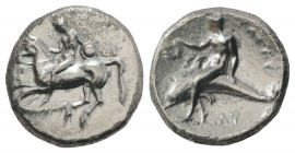 Southern Apulia, Tarentum, c. 302-280 BC. AR Nomos (22mm, 7.53g, 9h). Nude youth, holding shield and rein, on horseback l., [ΦIΛOKΛHΣ below]. R/ Phala...