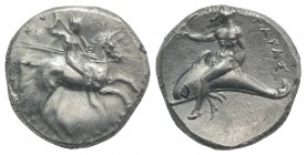 Southern Apulia, Tarentum, c. 302-280 BC. AR Nomos (21mm, 7.81g, 12h). Warrior on horseback r., holding shield and two spears, preparing to cast a thi...